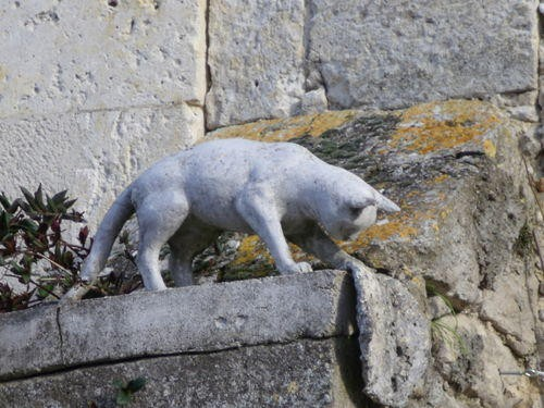 One of the many cat sculptures in Romieu, France