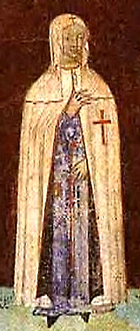 A woman in the distinctive Templar mantle
