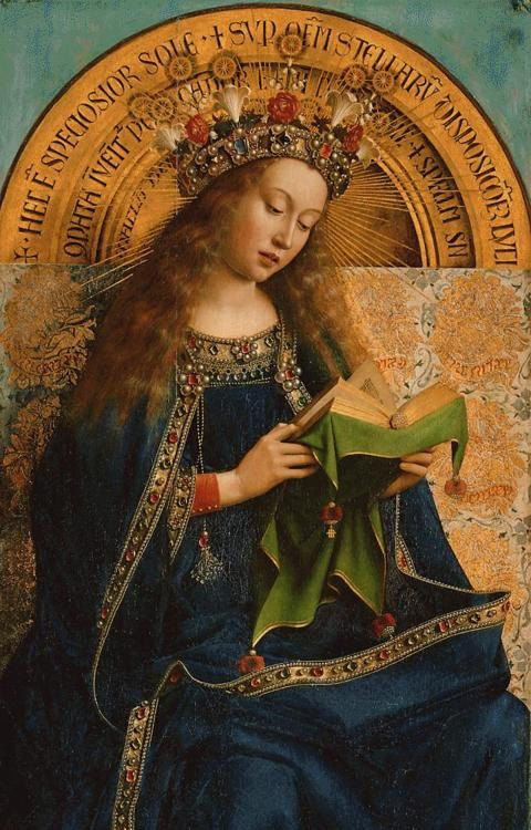 The Virgin reading, detail from the Ghent altarpiece