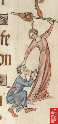 Woman beating a man with her spindle.