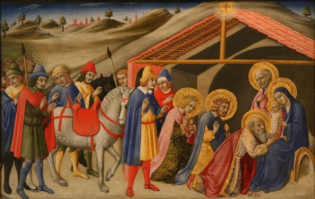 Even the Magi have halos in this painting by Fra Angelico.