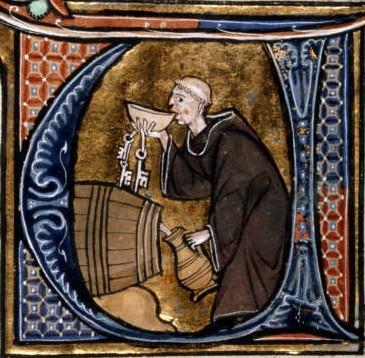 Monk sneaking wine from a barrel.