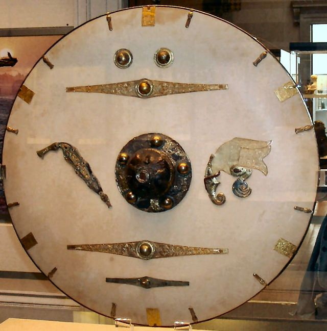 An Anglo-Saxon shield from Sutton Hoo.